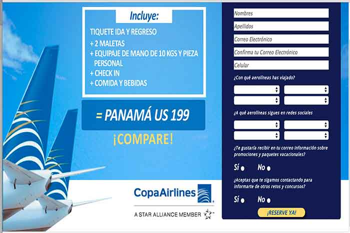 Copa Airlines landing page